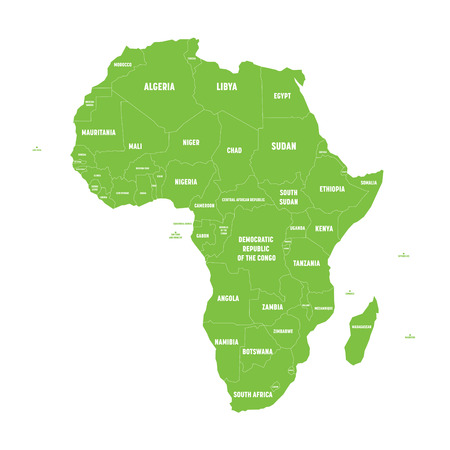 Simple flat green map of Africa continent with national borders and country name labels on white background. Vector illustration.