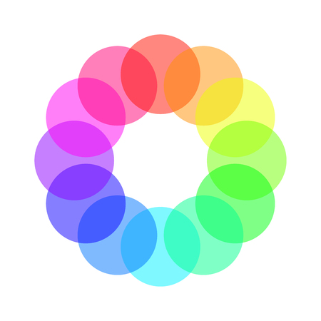 spectre: Partly transparent rainbow spectrum color circles arranged in the ring. Vector illustration. Illustration