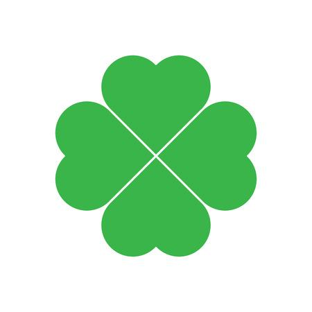 clover leaf shape: Shamrock - green four leaf clover icon. Good luck theme design element. Simple geometrical shape vector illustration.