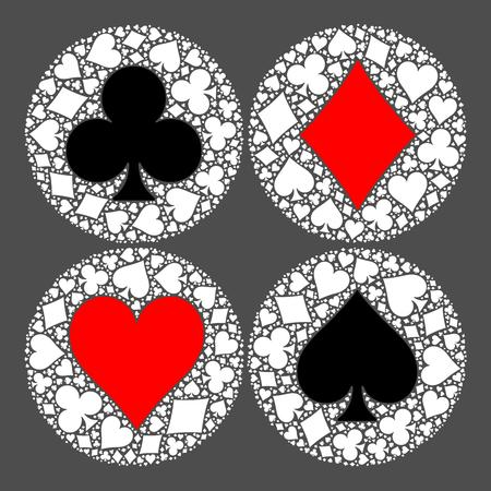 Mosaic circle of poker playing card suit with main symbol in the middle - heart, diamond, spade and club. Flat vector illustration on grey background. Illustration