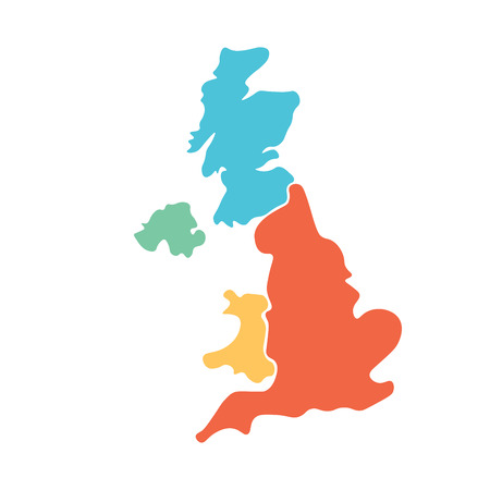 United Kingdom, aka UK, of Great Britain and Northern Ireland hand-drawn blank map. Divided to four countries in different colors - England, Wales, Scotland and NI. Simple flat vector illustration.