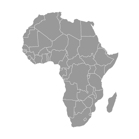 Simple flat grey map of Africa continent with national borders isolated on white background. Vector illustration. Illustration