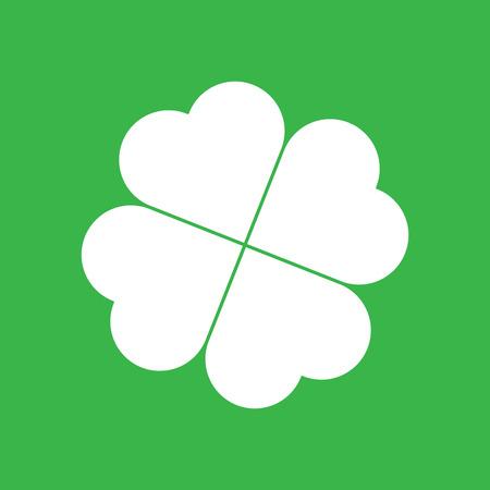 Shamrock silhouette - white four leaf clover icon on green background. Good luck theme design element. Simple geometrical shape vector illustration. Illustration