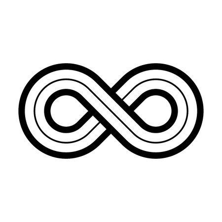 tripple: Infinity symbol icon. Representing the concept of infinite, limitless and endless things. Simple tripple line vector design element on white background. Illustration