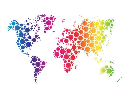 the spectre: World map wallpaper mosaic of dots in rainbow spectrum colors on white background.