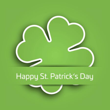 celtic background: Cut out four leaf clover attached in the green paper pocket. St Patricks Day card with text label. EPS10 vector illustration. Illustration