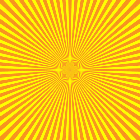 Yellow-orange rays of light in radial arrangement. Sunshine beams theme. Abstract background pattern. Vector illustration.