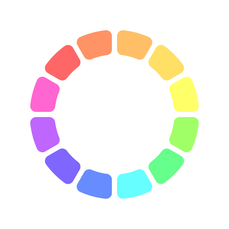 spectre: Partly transparent rainbow spectrum color blocks arranged in the ring. Vector illustration.