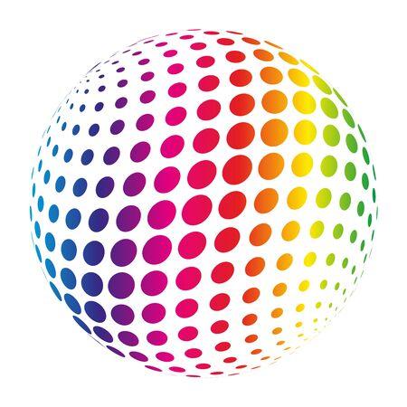 globe grid: Rainbow spectrum sphere. Abstract vector illustration on white background.