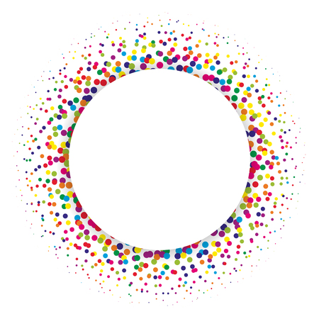 diffused: Ring of colorful dots scattered around. Modern design halftone element. Vector illustration.