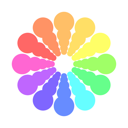 Partly transparent rainbow spectrum color circles arranged in the rings. Vector illustration.