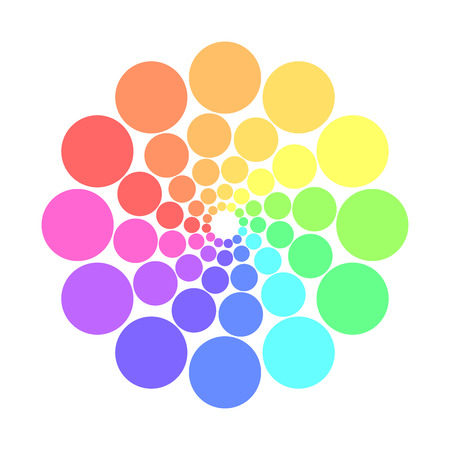 spectre: Partly transparent rainbow spectrum color circles arranged in the rings. Vector illustration.