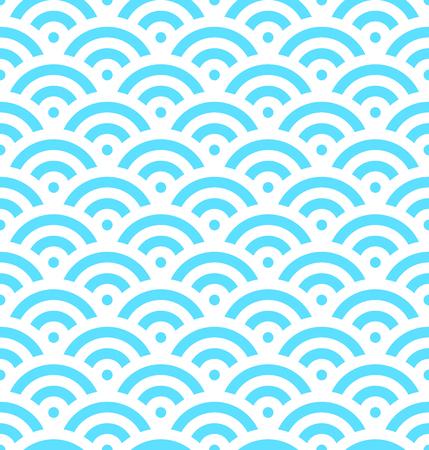青魚は、同心円の背景をスケールします。抽象的なシームレス パターンは海の波に似ています。ベクトルの図。 写真素材 - 74450644