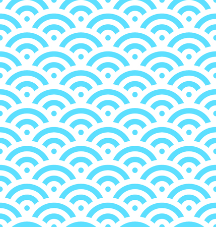 Blue fish scale background of concentric circles. Abstract seamless pattern looks like sea waves. Vector illustration.