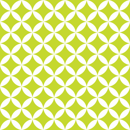 Green and white overlapping circles. Abstract retro design seamless pattern. Simple vector geometrical background.