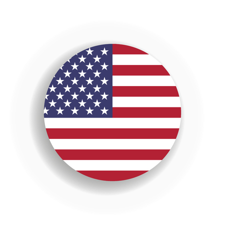 USA flag int he circle with dropped shadow. United States of America. EPS10 vector illustration.