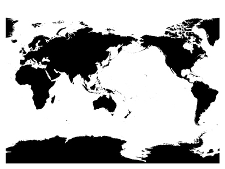 Australia and Pacific Ocean centered world map. High detail black silhouette on white background. Vector illustration. 일러스트