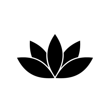 inverse: Lotus plant symbol. Spa and wellness theme design element. Flat black vector illustration.