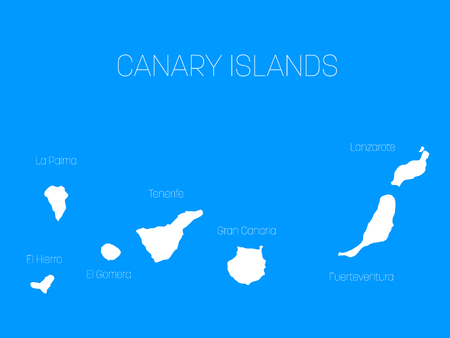 Map of Canary Islands, Spain, with labels of each island - El Hierro, La Palma, La Gomera, Tenerife, Gran Canaria, Fuerteventura and Lanzarote. White vector silhouette on blue background.