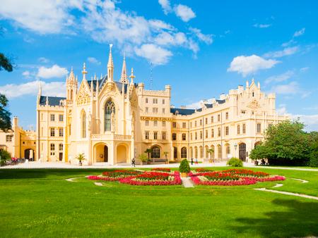Lednice Chateau on sunny summer day, Moravia, Czech Republic. UNESCO World Heritage Site.