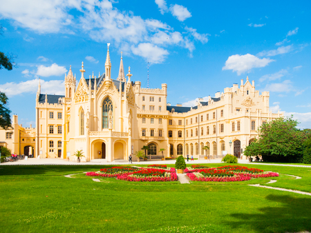 Lednice Chateau on sunny summer day, Moravia, Czech Republic. UNESCO World Heritage Site.
