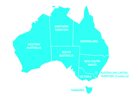 Simplified map of Australia divided into states and territories. Blue flat map with white borders and labels.