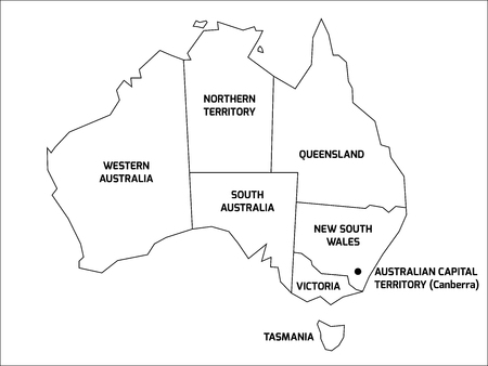 queensland: Simplified map of Australia divided into states and territories. Black outline map with labels.