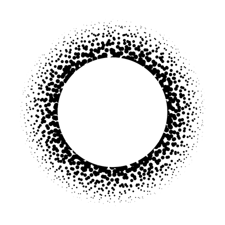 Ring of black dots scattered around. Modern design halftone element. Vector illustration. Çizim