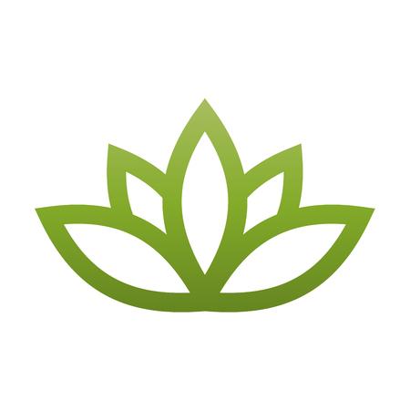 Green lotus symbol. Spa and wellness theme design element.