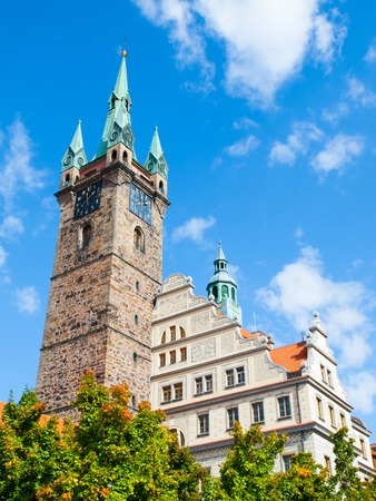 old town guildhall: Black Tower and Town Hall in Klatovy on sunny summer day, Czech Republic.