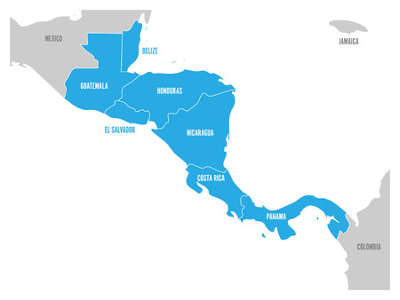 Map of Central America region with blue highlighted central american states. Country name labels. Simple flat vector illustration. Vettoriali