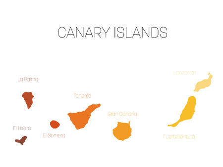 Map of Canary Islands, Spain, with labels of each island - El Hierro, La Palma, La Gomera, Tenerife, Gran Canaria, Fuerteventura and Lanzarote. Vector silhouette on white background. Illustration