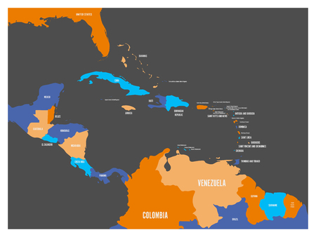 guantanamo: Central America and Carribean states political map with country names labels. Simple flat vector illustration. Illustration