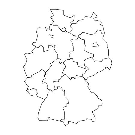독일지도는 13 개 연방 주와 3 개시 도, 베를린, 브레멘, 함부르크, 유럽으로 구분됩니다. 검은 윤곽선과 간단한 플랫 빈 흰색 벡터지도.