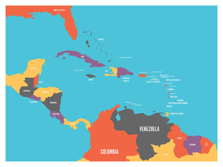 Central America and Carribean states political map with country names labels. Simple flat vector illustration. Ilustrace