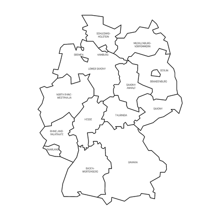 Map of Germany devided to 13 federal states and 3 city-states - Berlin, Bremen and Hamburg, Europe. Simple flat white vector map with black outlines and labels.