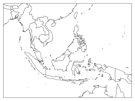 South East Asia Political Map. Black Outline On White Background. Simple  Flat Vector Illustration