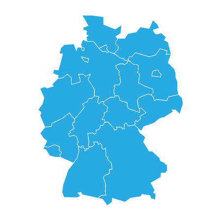 bundes: Map of Germany devided to 13 federal states and 3 city-states - Berlin, Bremen and Hamburg. Simple flat blank blue vector map silhouette. Illustration