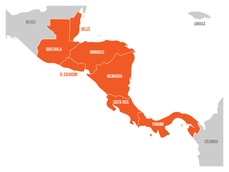 americas: Map of Central America region with red highlighted central american states. Country name labels. Simple flat vector illustration.