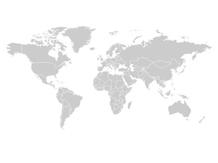 白の背景にグレー色の世界地図。ハイディテール空白の政治地図。それぞれの国のラベルの付いた複合パスをベクトル イラスト。  イラスト・ベクター素材