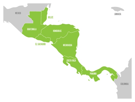 Map of Central America region with green highlighted central american states. Country name labels. Simple flat vector illustration. Illustration
