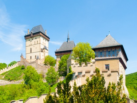 Medieval gothic royal castle Karlstejn, Czech Reoublic. Stock Photo