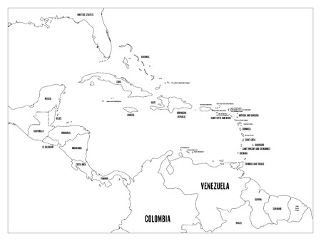 guantanamo: Central America and Caribbean states political map. Simple flat vector illustration.
