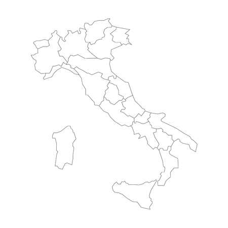 Map of Italy divided into 20 administrative regions. White land and black outline borders. Simple flat vector illustration.