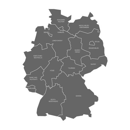 Map of Germany devided to 13 federal states and 3 city-states - Berlin, Bremen and Hamburg, Europe.