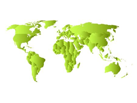 Green political map of World. Each state with own horizontal gradient. Vector illustration.