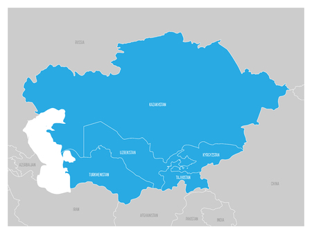 Map of Central Asia region with blue highlighted Kazakhstan, Kyrgyzstan, Tajikistan, Turkmenistan and Uzbekistan. Flat grey map with country white borders.