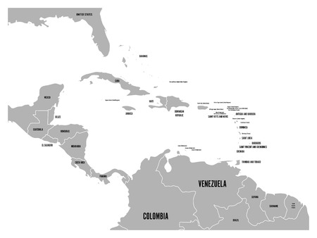 guantanamo: Central America and Carribean states political map in grey with black country names labels. Simple flat vector illustration. Illustration