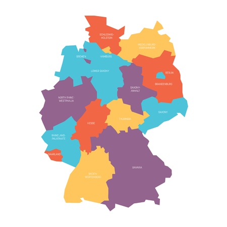 Map of Germany devided to 13 federal states and 3 city-states - Berlin, Bremen and Hamburg, Europe. Simple flat vector map in four colors with white labels. Illustration
