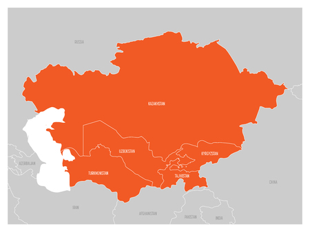 Map of Central Asia region with orange highlighted Kazakhstan, Kyrgyzstan, Tajikistan, Turkmenistan and Uzbekistan. Flat grey map with country white borders. Stock Photo